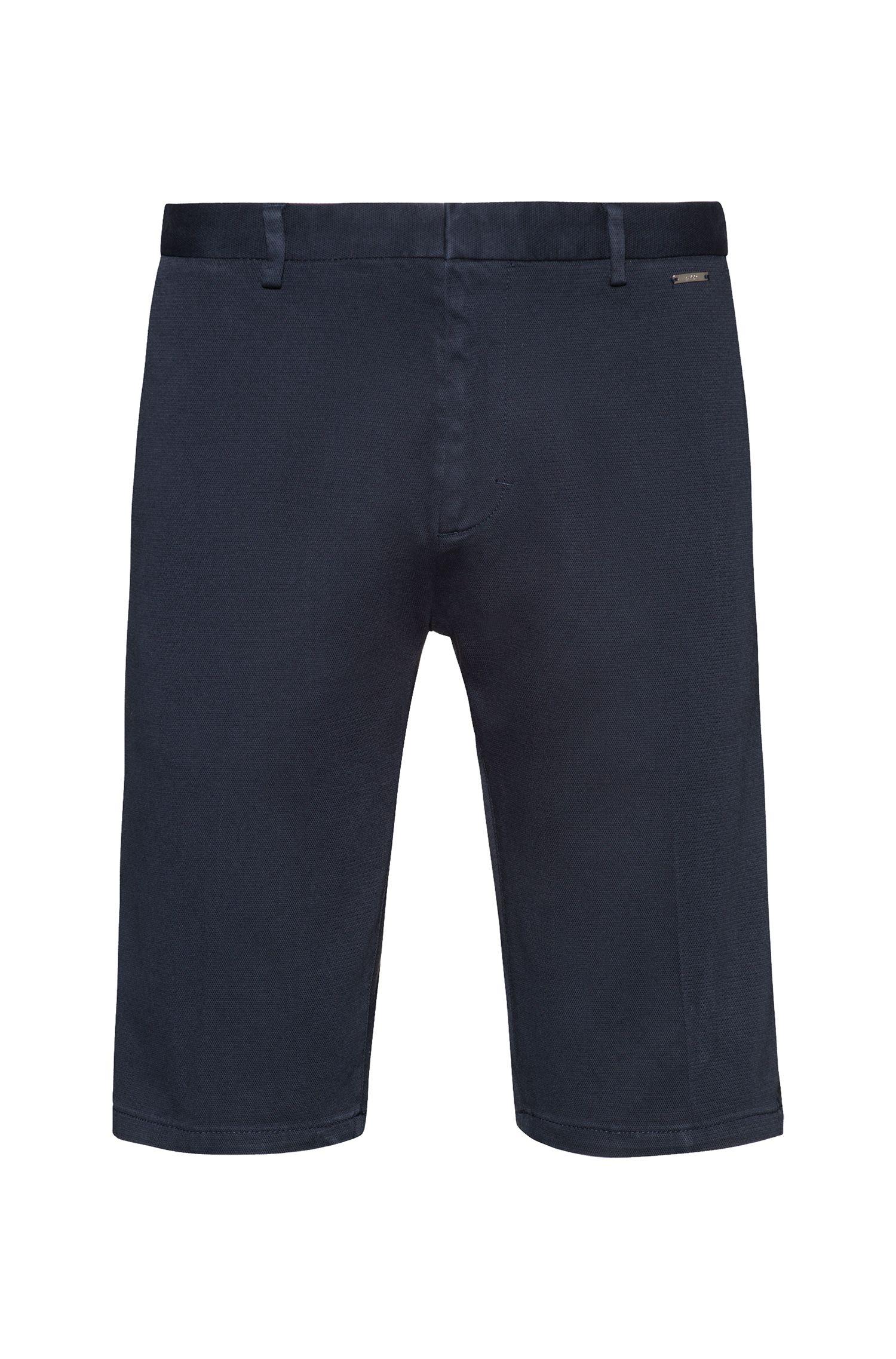 Slim-leg shorts in overdyed stretch cotton, Dark Blue