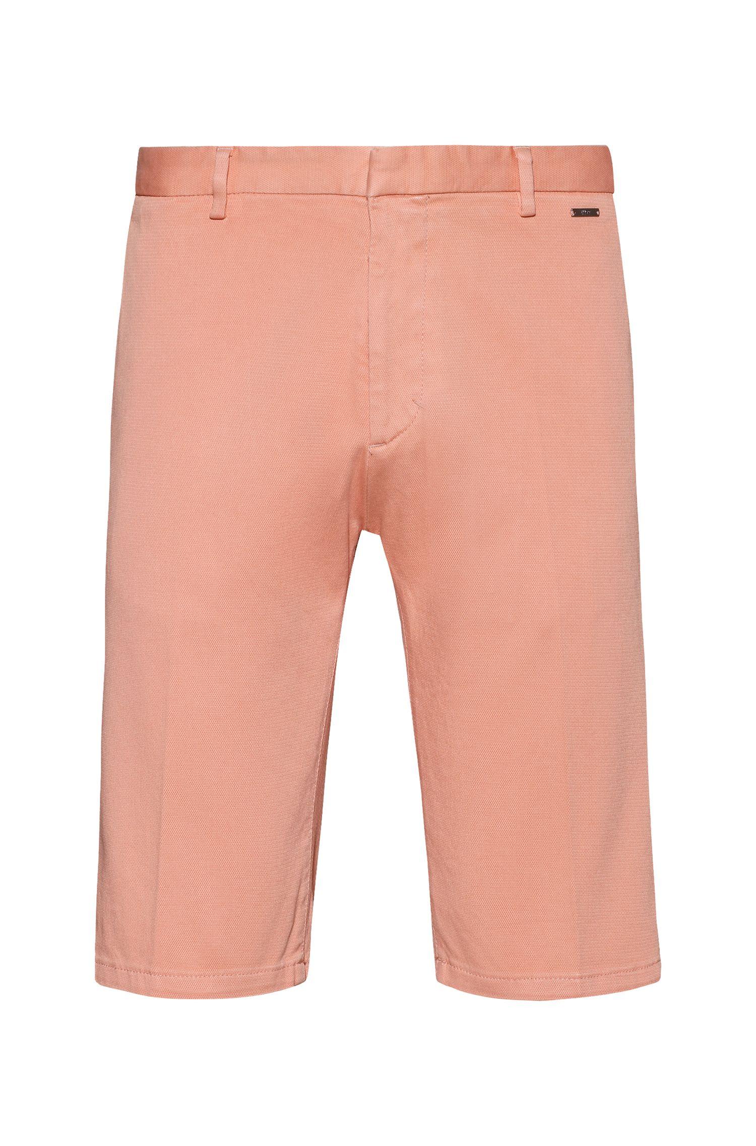 Slim-leg shorts in overdyed stretch cotton, Light Orange