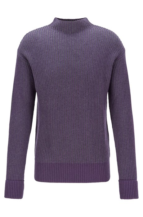 Relaxed-fit sweater with two-tone rib structure, Dark Purple