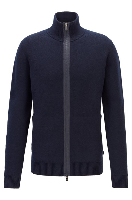 Double-faced wool jacket with exposed zipper tape, Dark Blue