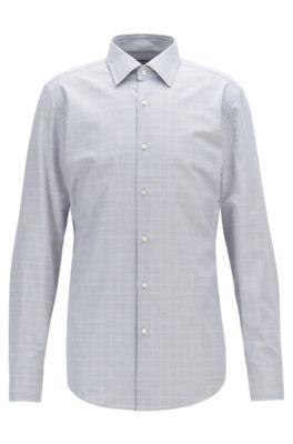 Slim-fit shirt in plain-check melange cotton, Grey