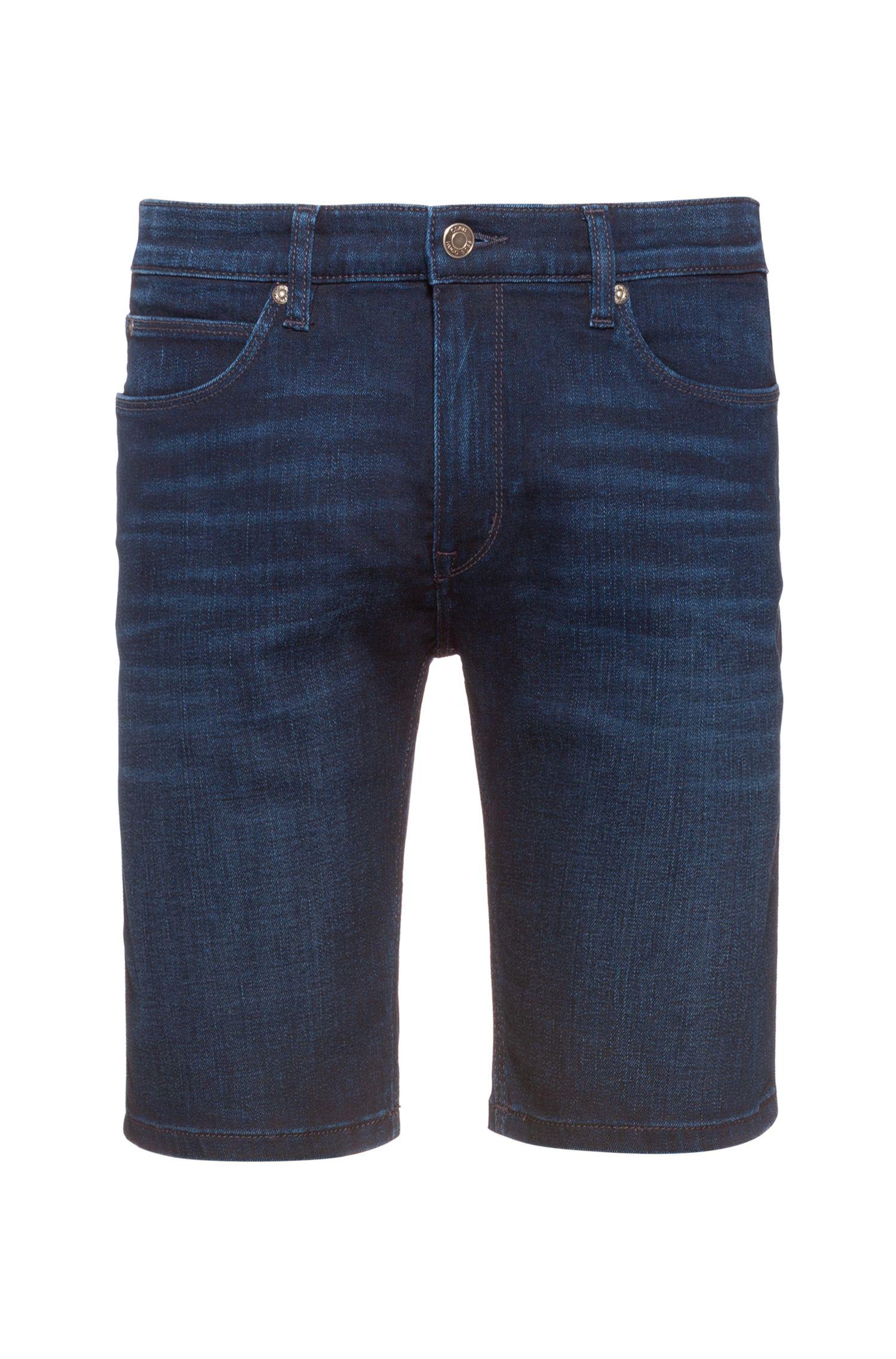 Slim-fit shorts in dark blue stretch denim, Dark Blue