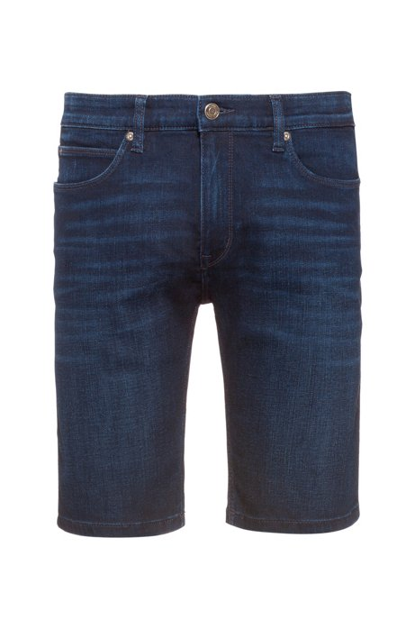 Slim-fit shorts in dark blue stretch denim, Dark Blue