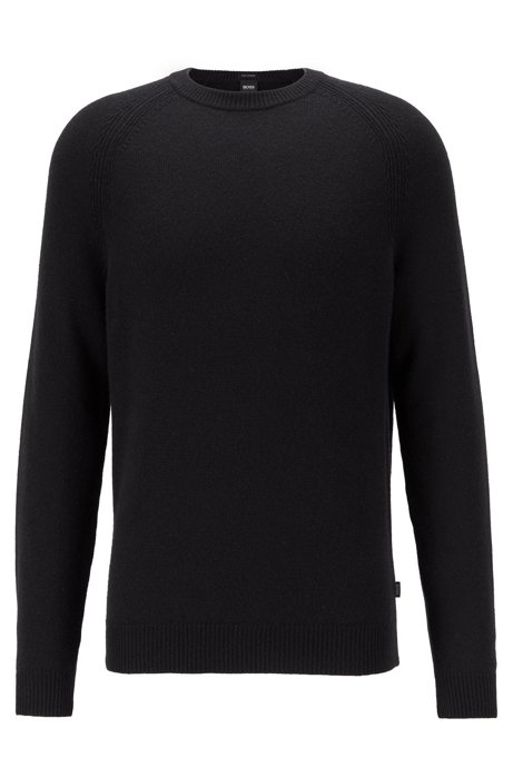 Regular-fit sweater in cashmere with crew neckline, Black