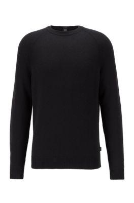 Regular-fit sweater in cashmere with crew neckline, Black