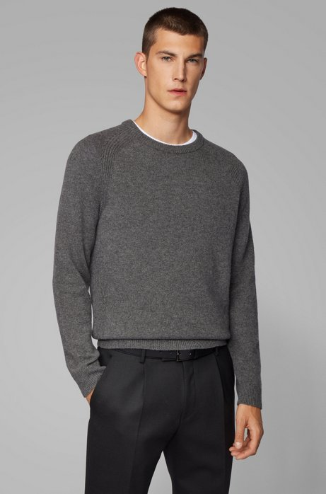 Regular-fit sweater in cashmere with crew neckline, Grey