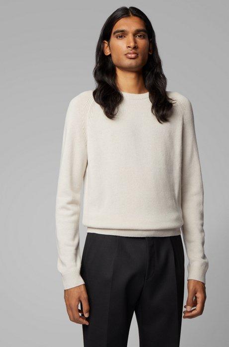 Regular-fit sweater in cashmere with crew neckline, White