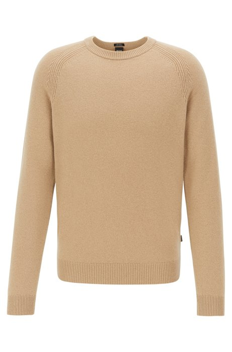 Regular-fit sweater in cashmere with crew neckline, Beige