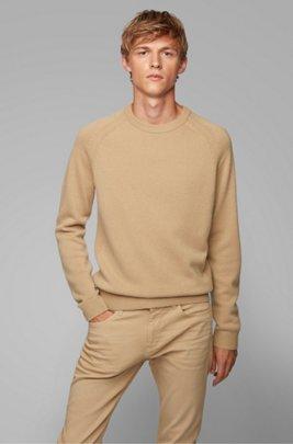 Regular-fit sweater in cashmere with crew neckline, Beige