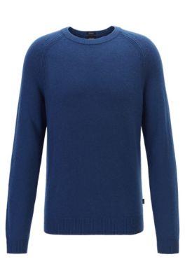 Regular-fit sweater in cashmere with crew neckline, Dark Blue