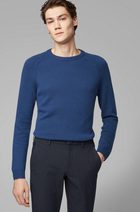 Regular-fit sweater in cashmere with crew neckline, Dark Blue