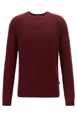 Regular-fit sweater in cashmere with crew neckline, Dark Red