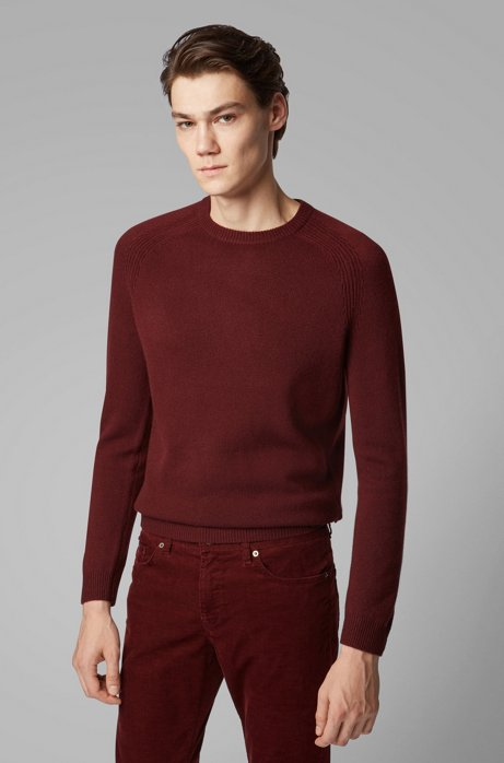 Regular-fit sweater in cashmere with crew neckline, Dark Red