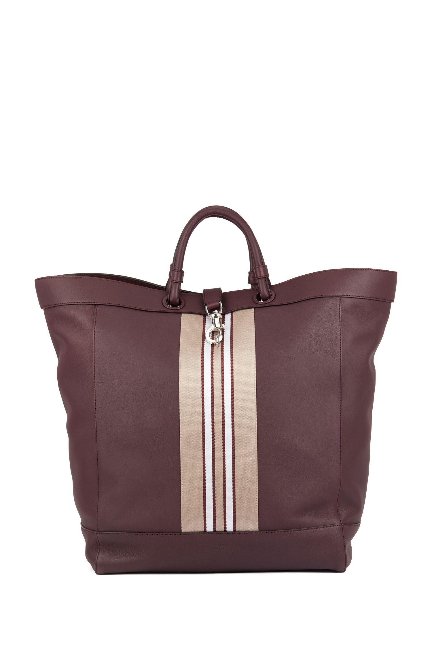 Large tote bag in leather with striped trim, Dark Red