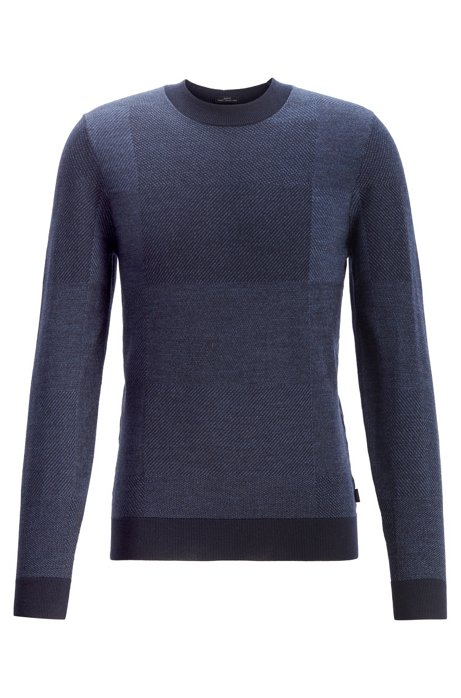 Slim-fit virgin-wool sweater in mixed structures, Dark Blue
