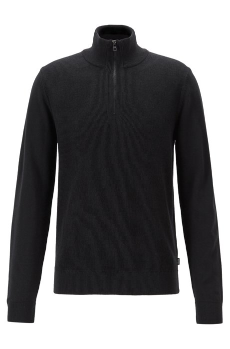 Regular-fit sweater in virgin wool with zipper neck, Black