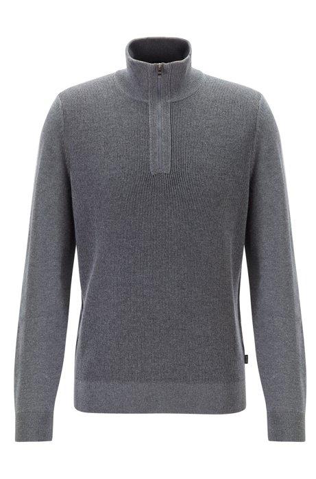 Regular-fit sweater in virgin wool with zipper neck, Grey