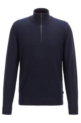 Regular-fit sweater in virgin wool with zipper neck, Dark Blue