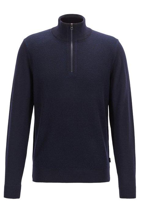 Regular-fit sweater in virgin wool with zipper neck, Dark Blue