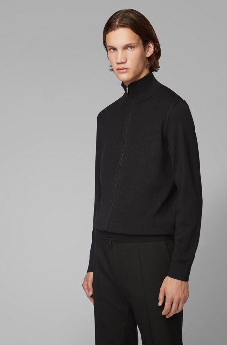 Regular-fit virgin-wool cardigan with structured panel, Black