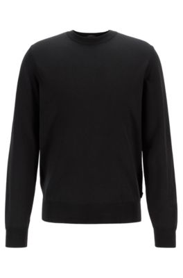 Virgin-wool sweater with color-block framing, Black