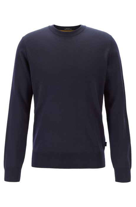 Virgin-wool sweater with color-block framing, Dark Blue