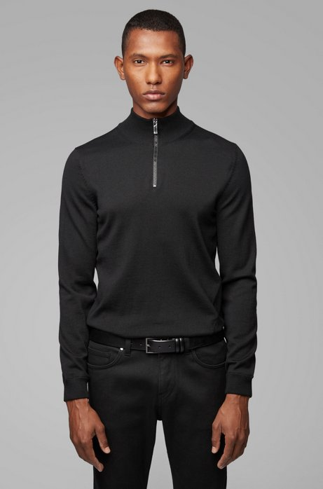 Virgin-wool zip-neck sweater with contrast detailing, Black