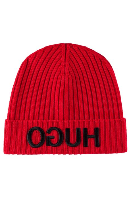Wool beanie with turnback hem and reversed logo, Open Pink