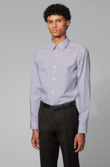 Slim-fit shirt with two-colored geometric print, Dark Red