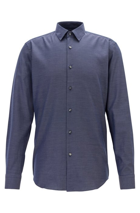 Slim-fit shirt in dobby cotton with horizontal structure, Dark Blue
