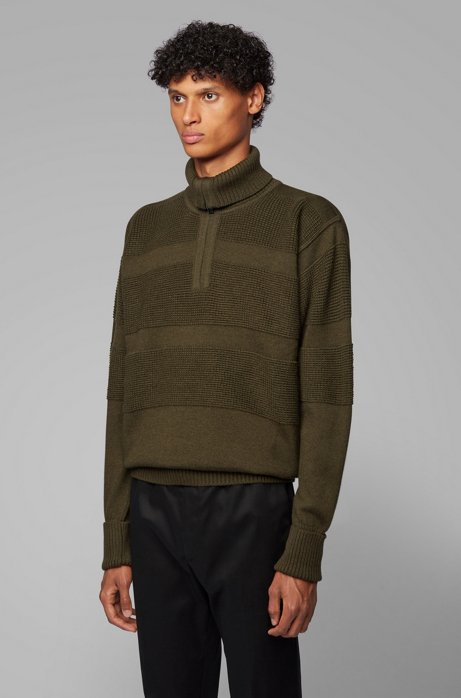 Zip-neck troyer sweater with structured block stripes, Open Green