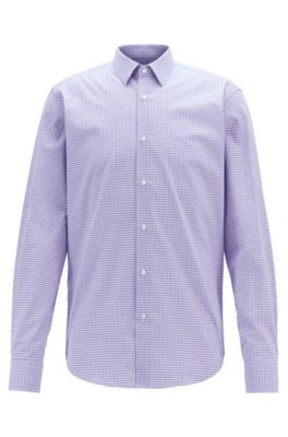 Regular-fit shirt in Vichy-check cotton with dobby motif, Purple