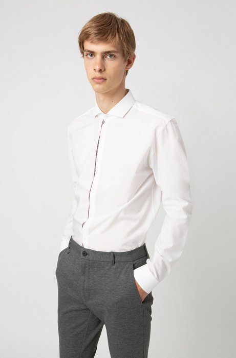 Extra-slim-fit cotton shirt with text-trimmed placket, Open White