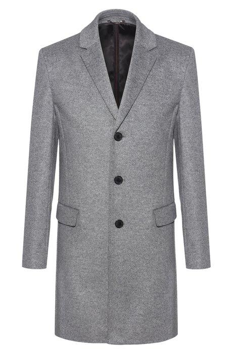 Slim-fit coat in a virgin-wool blend, Grey