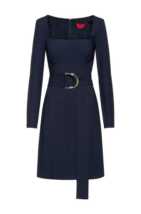 Regular-fit dress with D-ring belted waist, Dark Blue