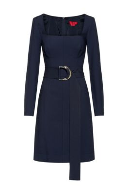 Regular-fit dress with D-ring belted waist, Dark Blue