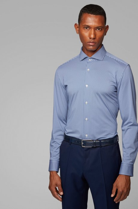 Slim-fit checked shirt in Italian stretch fabric, Open Blue