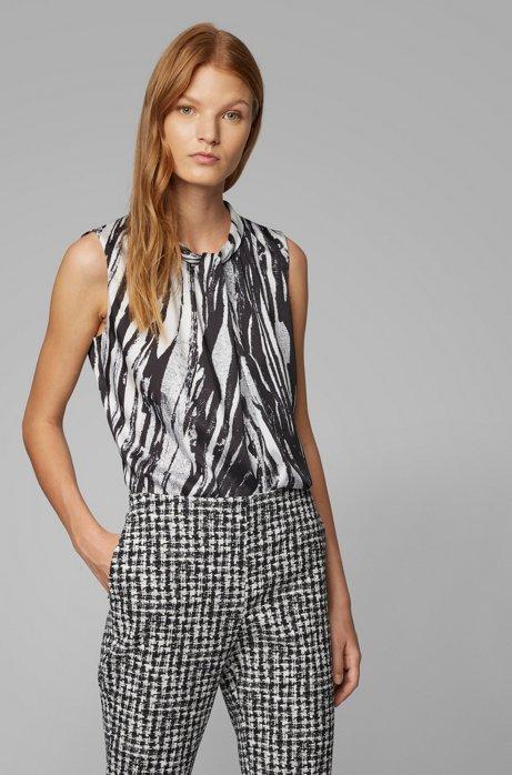 Sleeveless top in zebra-print Italian twill, Patterned