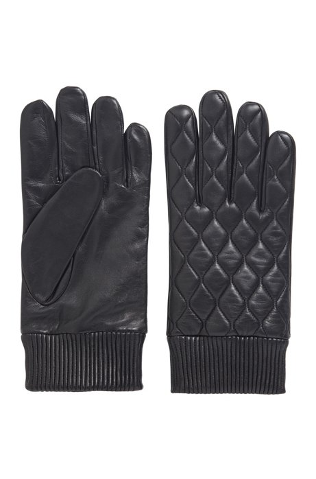 Nappa-leather gloves with lightly waxed finish, Black