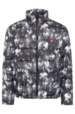 Relaxed-fit down jacket with crowd scene, Charcoal