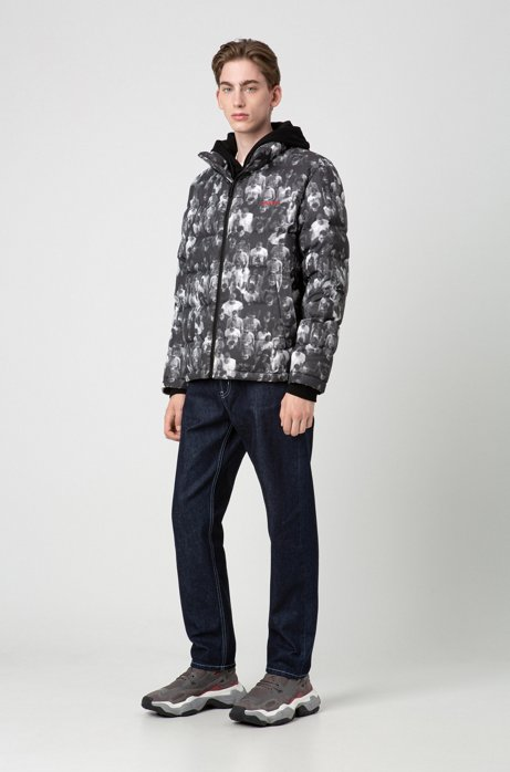 Relaxed-fit jacket with crowd scene, Dark Grey