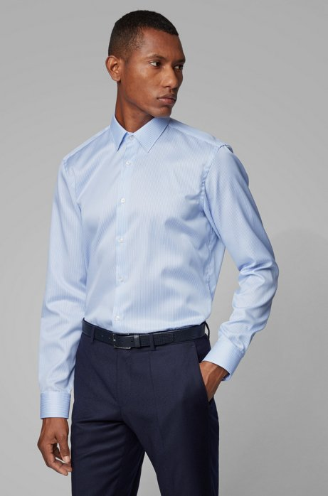 Striped regular-fit shirt with aloe vera finishing, Light Blue
