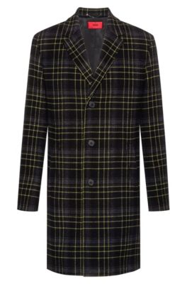 Slim-fit coat in a Glen-checked wool blend, Yellow
