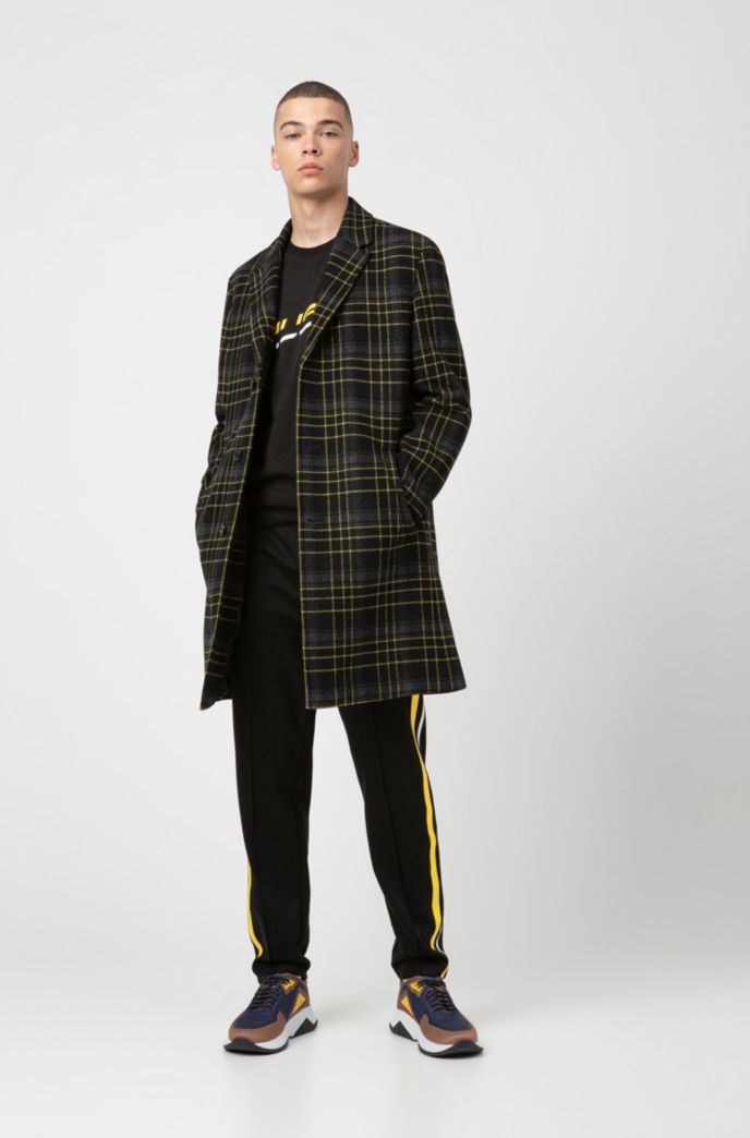 Slim-fit coat in a Glen-checked wool blend