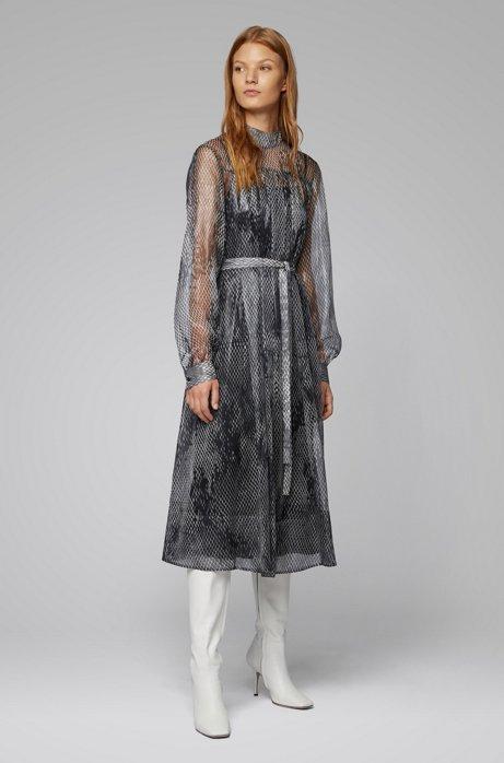 Silk-blend snake-print dress with belt, Patterned