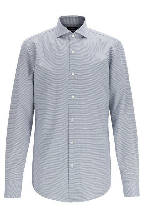 Slim-fit shirt in micro-structured Egyptian cotton, Open Blue