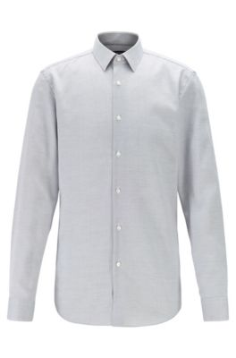 Slim-fit shirt in stain-resistant structured Swiss cotton, Black