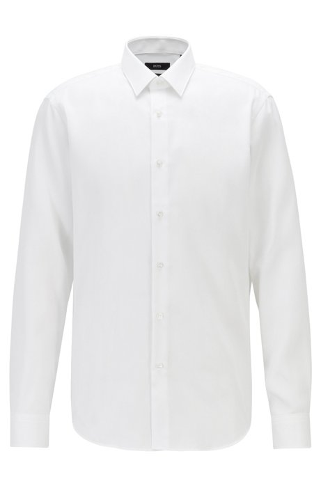 Regular-fit shirt in stain-resistant structured cotton, White
