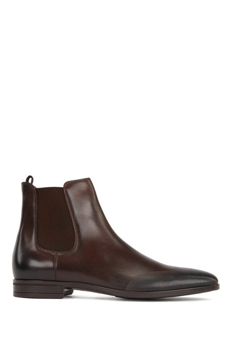 Chelsea boots in burnished leather with laser-cut details, Dark Brown