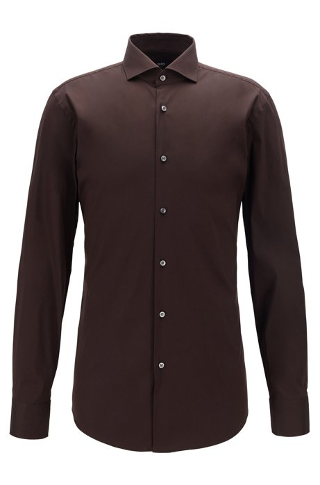 Travel Line slim-fit shirt in a stretch cotton blend, Dark Brown
